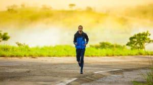 man running at dusk